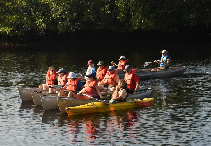 Group of people paddling canoes on a river.