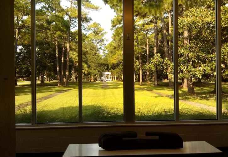 View from inside museum of lush green landscape with monument in the distance.