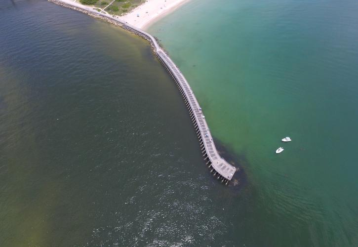 Arial perspective of jetty