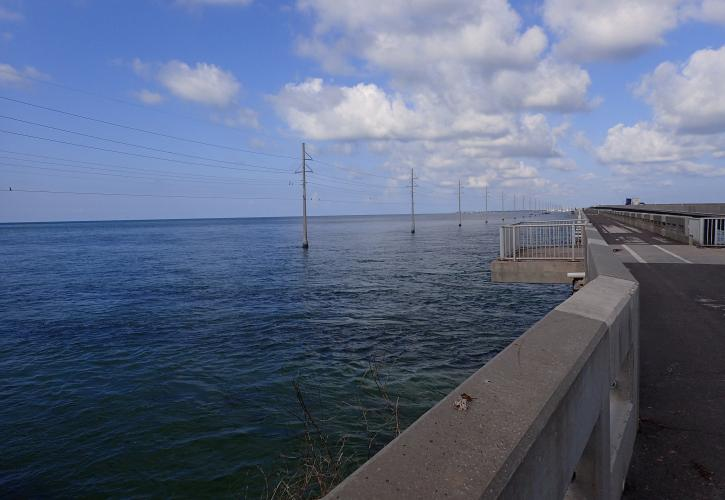 View of a fishing platform on the Long Key Bridge over looking the ocean