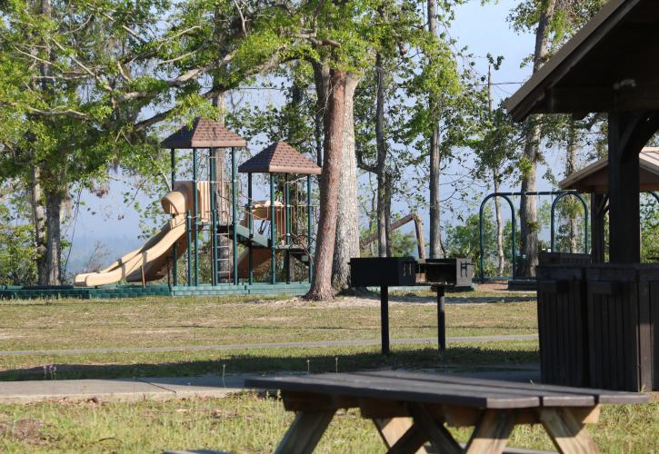 A view of the day use area, including the playground.