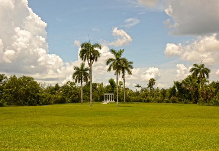 Open grassy field with puffy white clouds royal palms and memorial structure