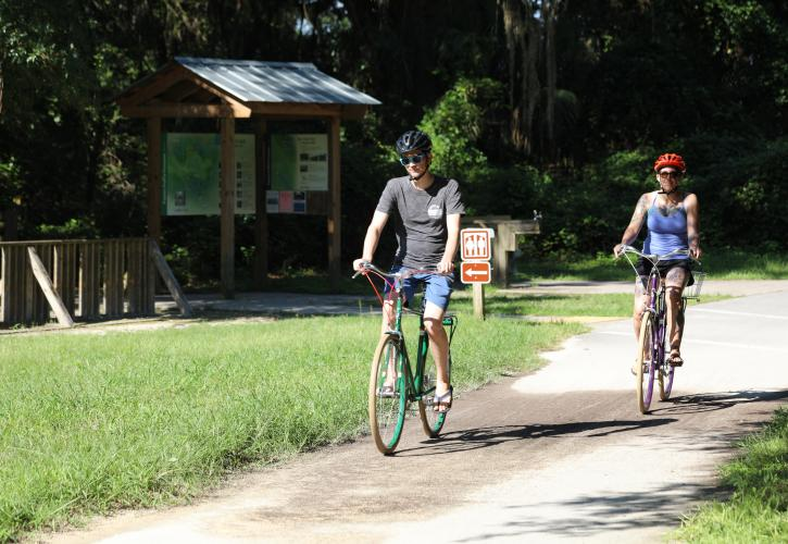 Visitors Bicycling on Trail