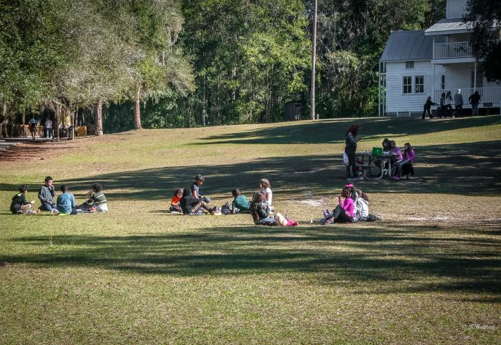 Children having a picnic looking at the historic Thursby House
