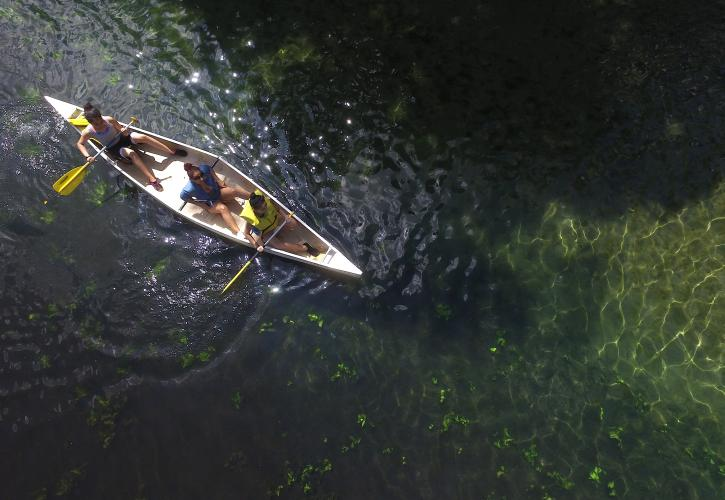 Aerial of kayaking at Wekiwa Springs