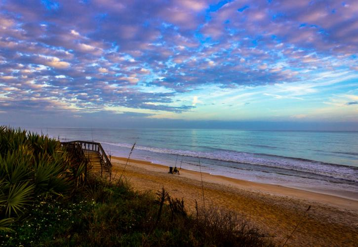 View of Gamble Rogers beach during sunrise