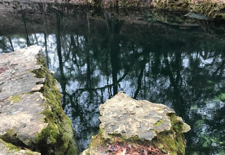Two limestone rock outcroppings extend over dark water on the banks of a spring