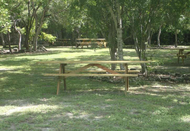 picnic tables in th e Flagler Quarry at Windely Key