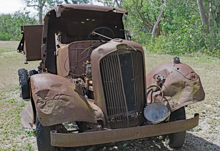 Old truck in the yard of the Matheson House