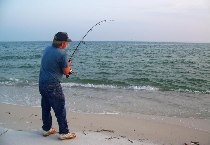 Fishing on the beach