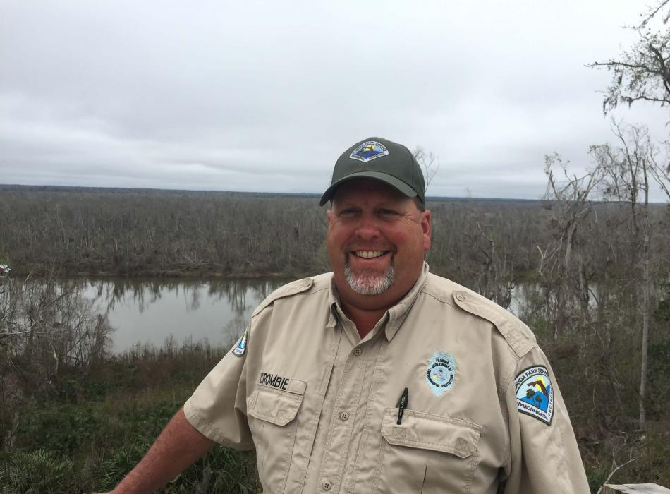 Park Ranger Rob Crombie Standing at the overlook of the Apalachicola River.