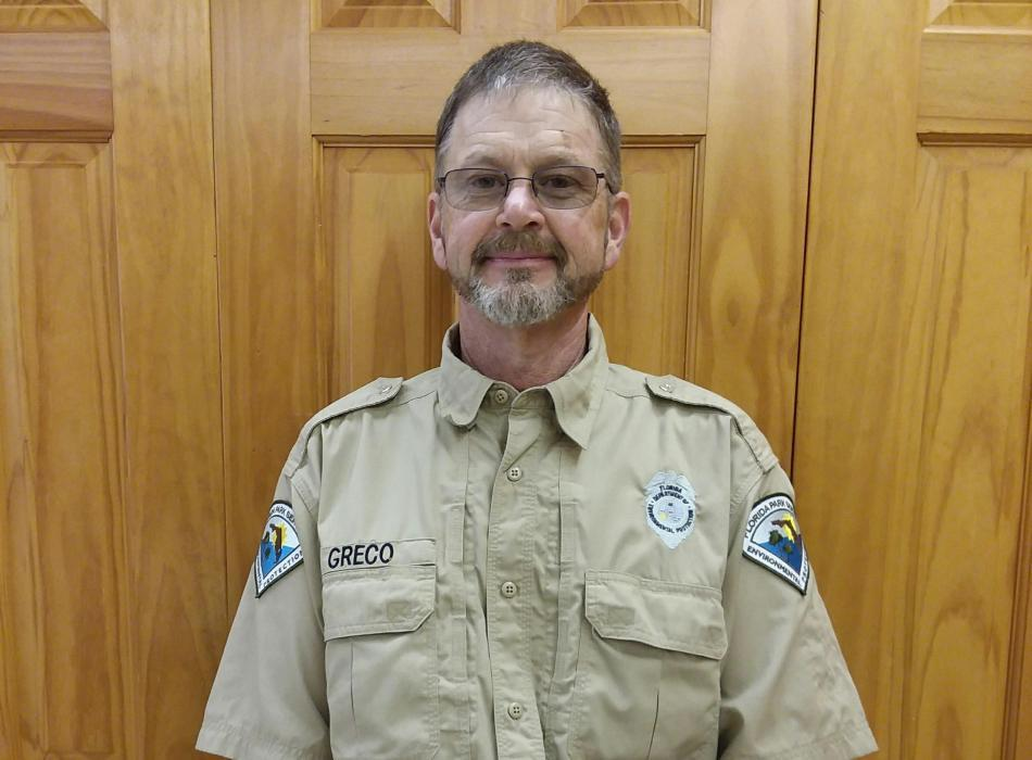 Park Services Specialist Gerard Greco in the Trail Visitor Center.
