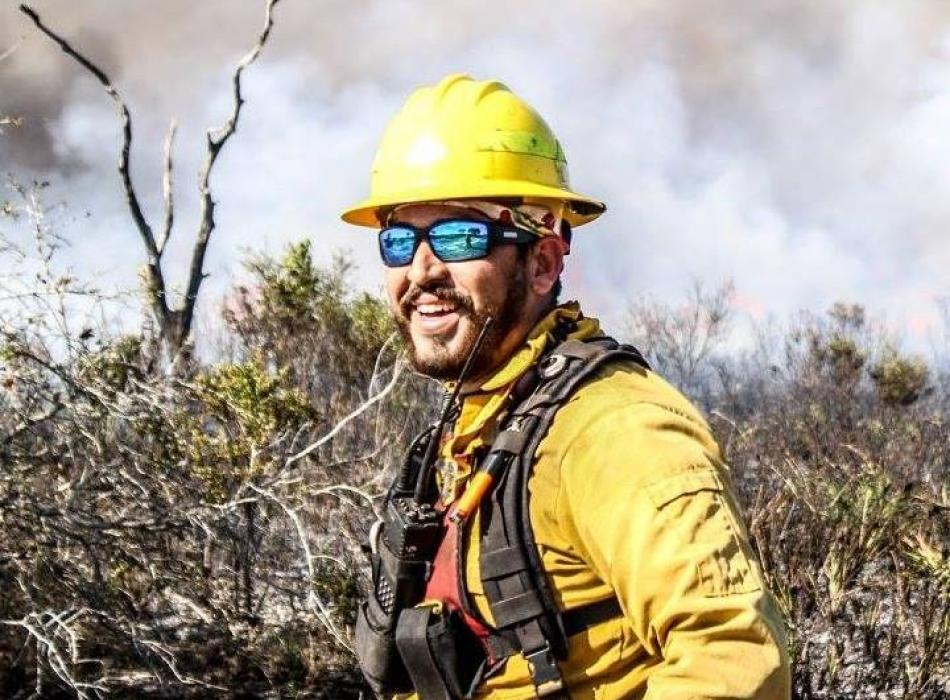 Anthony Vera at a prescribed fire